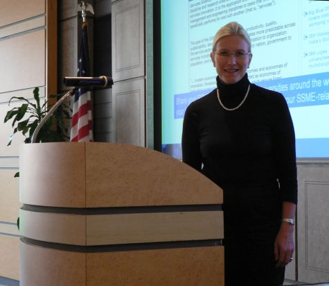 Taina Tukiainen at the podium, IBM Palisades